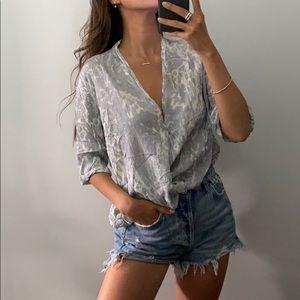 BABATON   Crepe cross blouse